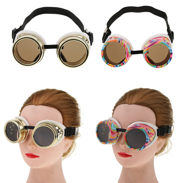Stylish Round Steampunk Goggles Glasses Vintage Victorian Cosplay Goth Motorcycle Bicycle Costume Sunglasses