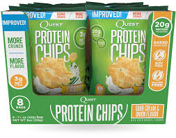 Quest Sour Cream & Onion Protein Chips box of 8 bags