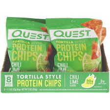 Quest Tortilla Style Chili Lime Protein Chips box of 8 bags