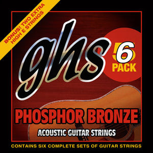 GHS Strings AC GTR,PHOS BRNZ,MED 5 PACK w/free bonus 6th set