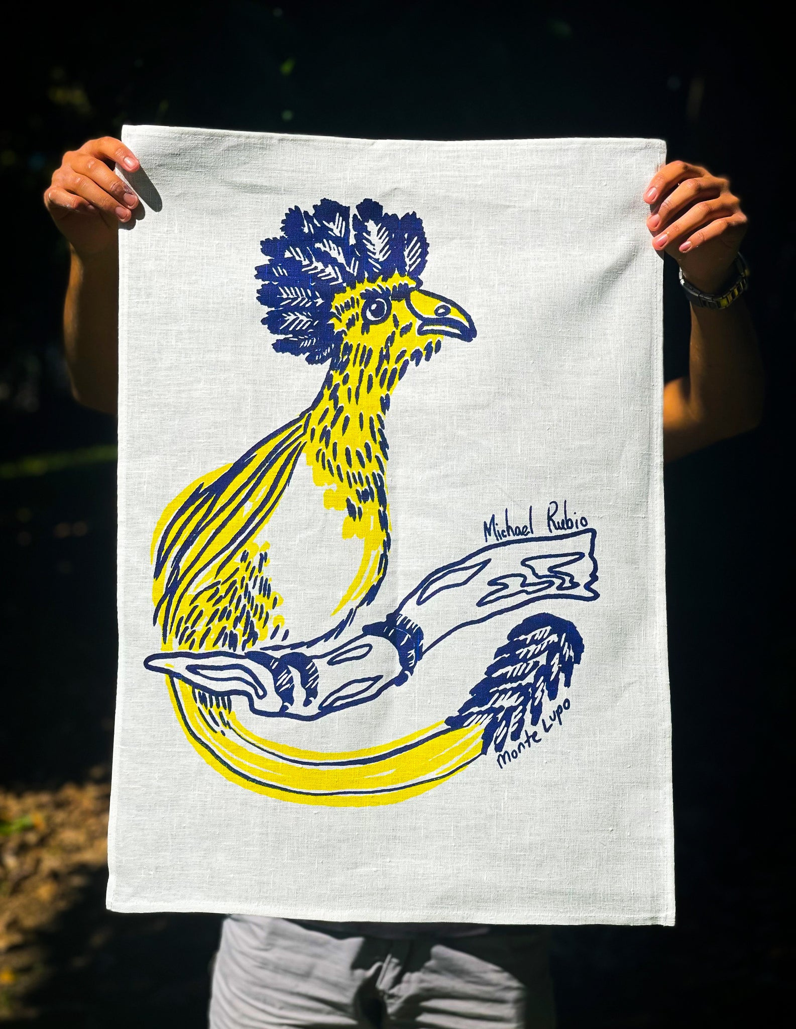 Quetzal Tea Towel - White Linen