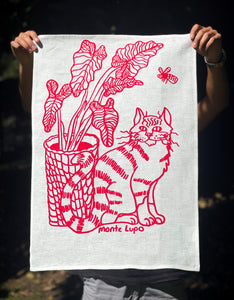 Cat & Houseplant Tea Towel - White Linen
