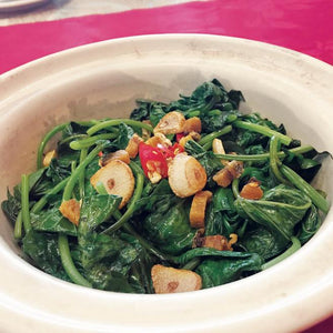 Sweet Potato Leave Fried with Salted Fish