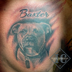 Pet Dog Portraiture Tattoo On The Chest  With Calligraphy Name In Black And Gray Tatuaje De Retrato De Perro Mascota En El Pecho Con Nombre De Caligrafía En Negro Y Gris<br>
