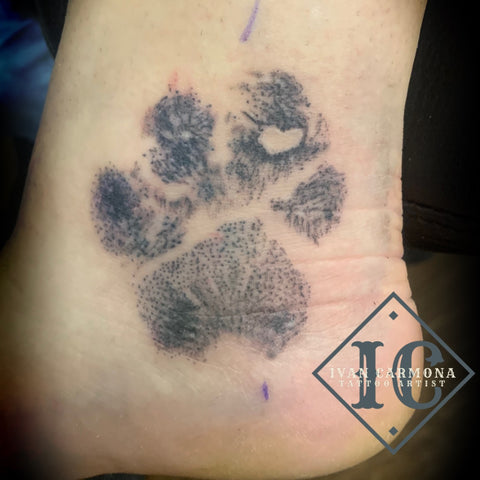 Paw Print Tattoo In Black And Gray With A Heart On The Ankle Paw Print Tattoo En Negro Y Gris Con Un Corazón En El Tobillo<br>