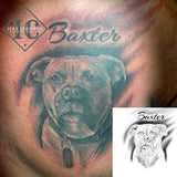 Pet Dog Portraiture Tattoo On The Chest  With Calligraphy Name In Black And Gray