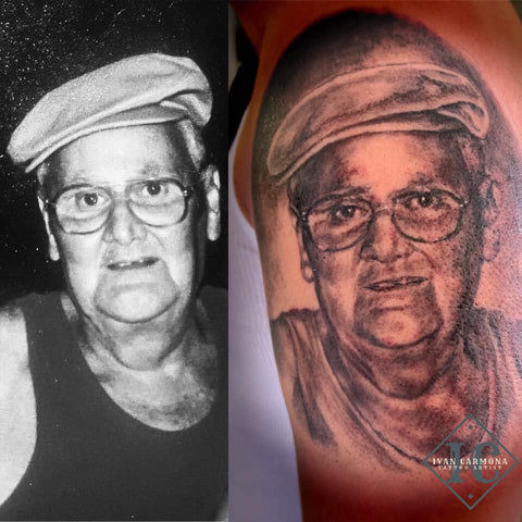Portrait Commemorative Tattoo In Black And Gray Retratos Conmemorativo Tatuaje En Negro Y Gris<br>