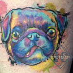 Pet Portraiture Tattoo On The The Ankle With Watercolors Pink Green Blue Yellow And Purple Tatuaje De Retrato De Mascota En El Tobillo Con Acuarelas Rosa Verde Azul Amarillo Y Morado<br>