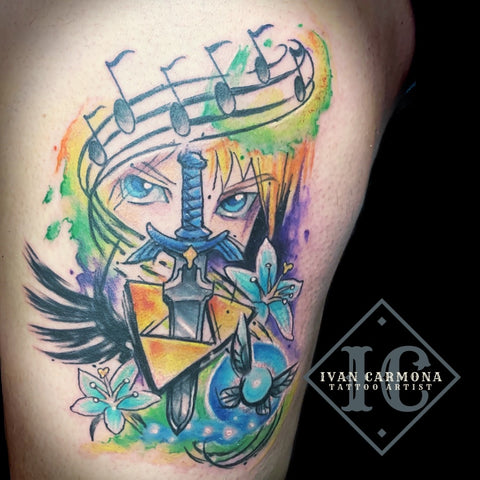Zelda Nintendo Game Inspired Tattoo In Watercolor On The Thigh Tatuaje Zelda Nintendo Inspirado Acuarelas Con El Caracter Animando Link En El Muslo