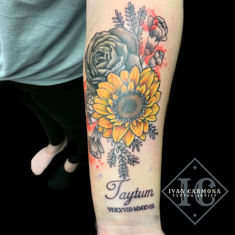 Floral Tattoo Of A Rose Buds And A Sunflower With Black And Gray Shading And Accent Red And Yellow On The Forearm Tatuaje Floral De Capullos De Rosa Y Girasol Con Sombreado Negro Y Gris Y Acento Rojo Y Amarillo En El Antebrazo<br>