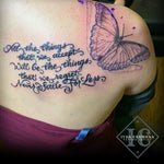 Blue Butterfly Tattoo And Calligraphy On The Shoulder