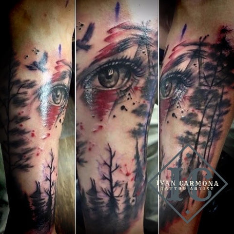Eye Tattoo In The Forest With Black Gray And Red Accents On The Arm Tatuaje De Ojos En El Bosque Con Acentos Negros Grises Y Rojos En El Brazo<br>