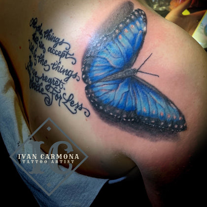 Blue Butterfly Tattoo And Calligraphy On The Shoulder Tatuaje De Mariposa Azul Y Caligrafía En El Hombro<br>