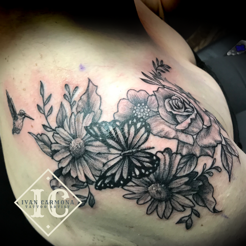 Floral Black Work Clavicle Tattoo Hummingbird Rose Butterfly