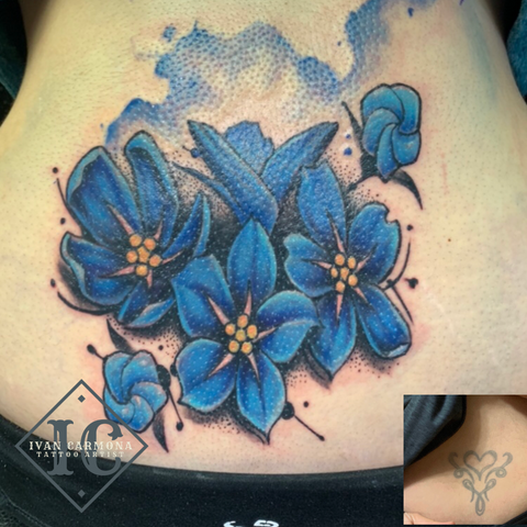 Blue Forget Me Nots Floral Memorial Cover Up Watercolor Tattoo On The Lower Back Miosotis No Me Olvides Flor Acuarela Memorial Tapar Tatuaje En La Parte Bajo De La Espalda