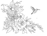 Floral Black Work Clavicle Tattoo Sketch Hummingbird Rose Butterfly
