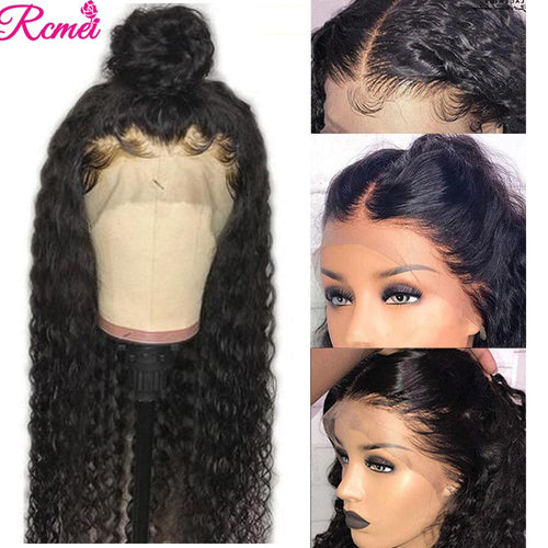 360 Lace Front Human Hair Wig For Black Brazilian Water Wave Wig - The Asian Centre