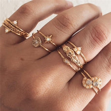 Load image into Gallery viewer, 12 pc/set Charm Gold Color Midi Finger Ring Set for Women - The Asian Centre
