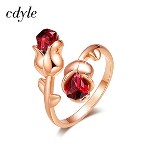 Light Siam Crystals Rose Flower Adjustable Ring for Women - The Asian Centre