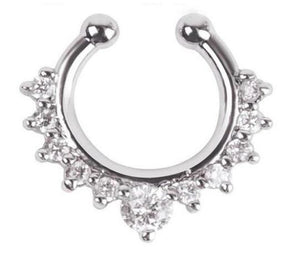 1Pc 10mm Zircon Piercing Nose Ring Hoop nose For Girl - The Asian Centre