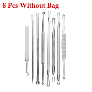 1 Set Stainless Steel Extractor Blackhead Remover Needles Acne Pimple Blemish Treatments - The Asian Centre