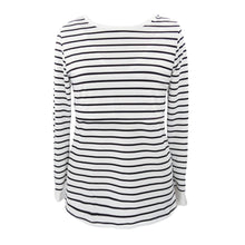 Load image into Gallery viewer, Maternity Tshirt Women Mom Pregnant Nursing Baby Long Sleeved Stripe Top - The Asian Centre