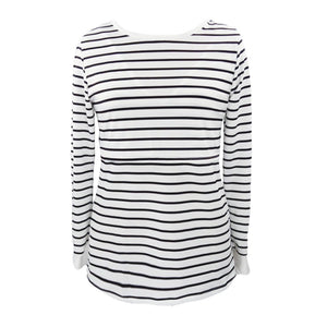 Maternity Tshirt Women Mom Pregnant Nursing Baby Long Sleeved Stripe Top - The Asian Centre