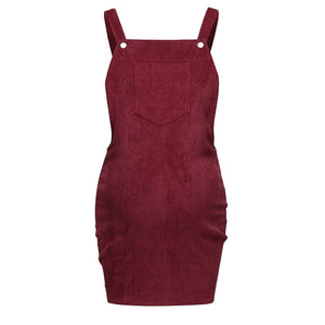 Pregnant Women Corduroy Sleeveless Body-con Dresses - The Asian Centre