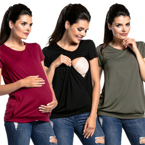 Women Pregnant Maternity Clothes Nursing T-Shirt Tops Breastfeeding Loose Tees T-Shirt - The Asian Centre