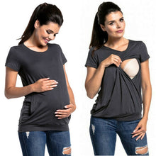 Load image into Gallery viewer, Women Pregnant Maternity Clothes Nursing T-Shirt Tops Breastfeeding Loose Tees T-Shirt - The Asian Centre