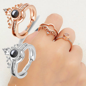 2 in 1 Crown Rings Gold Silver Love Memory Couple Rings - The Asian Centre