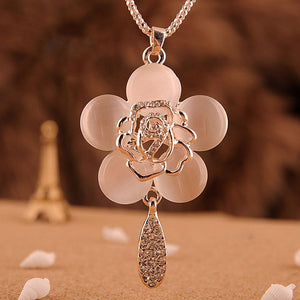 Beautiful Long Chain Cat Eyes Stone Rose Inlay Crystal Flower Pendant - The Asian Centre