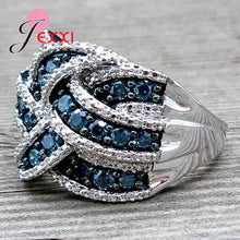 Load image into Gallery viewer, Big Blue CZ Zircon Stone Vintage 925 Sterling Silver Rings For Women - The Asian Centre