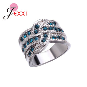 Big Blue CZ Zircon Stone Vintage 925 Sterling Silver Rings For Women - The Asian Centre
