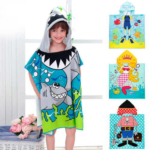 Children Cartoon Baby Hooded Bath Towel Bathrobe Cotton Terry - The Asian Centre
