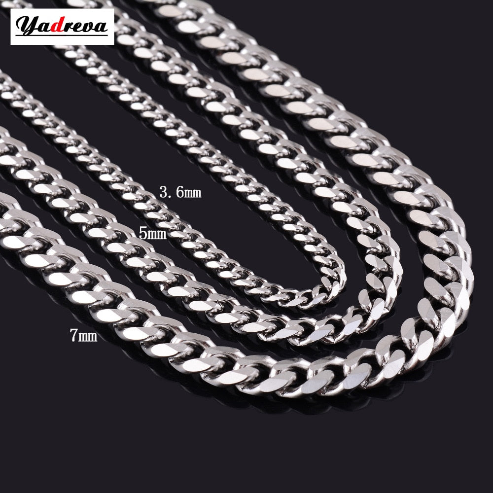 Never Fade 3.5mm/5mm/7mm Stainless Steel Cuban Chain Necklace Waterproof - The Asian Centre