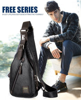 Men bag: JackKevin Men's Fashion Crossbody  Theftproof Rotatable Button Open Leather Chest Bags