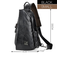 JackKevin Men Multifunction Leather Crossbody Bags USB Charging Water Repellent