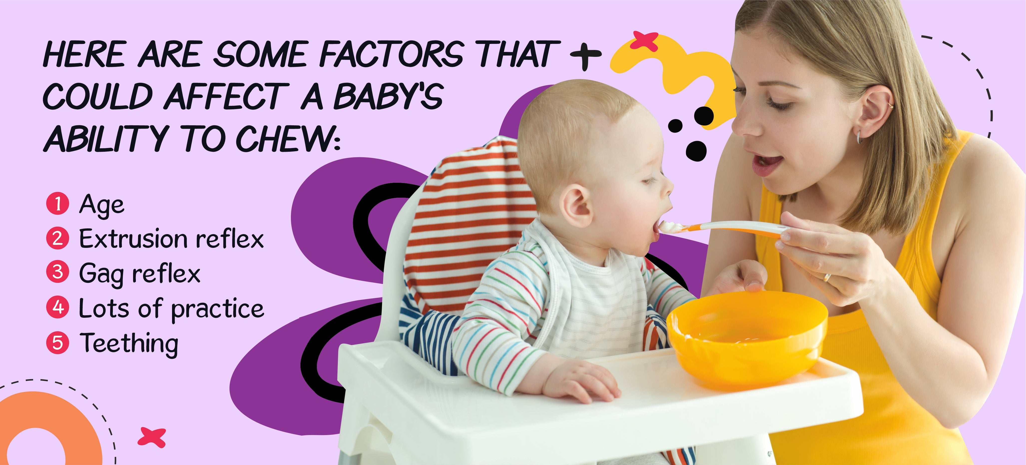 Here are some factors that could affect a baby's ability to chew (age, extrusion reflex, gag reflex, lots of practice, teetching)