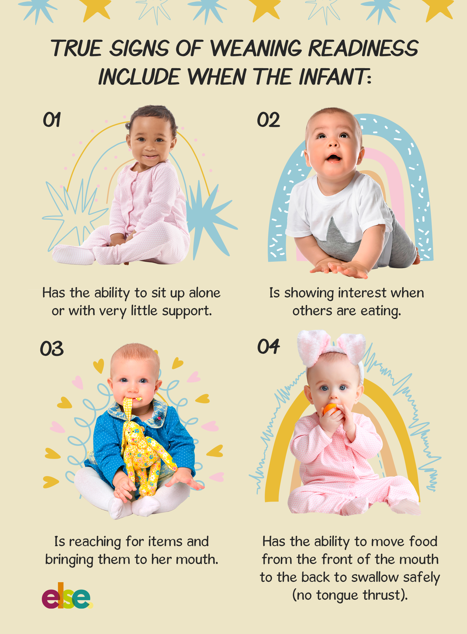 True signs of readiness include when the infant