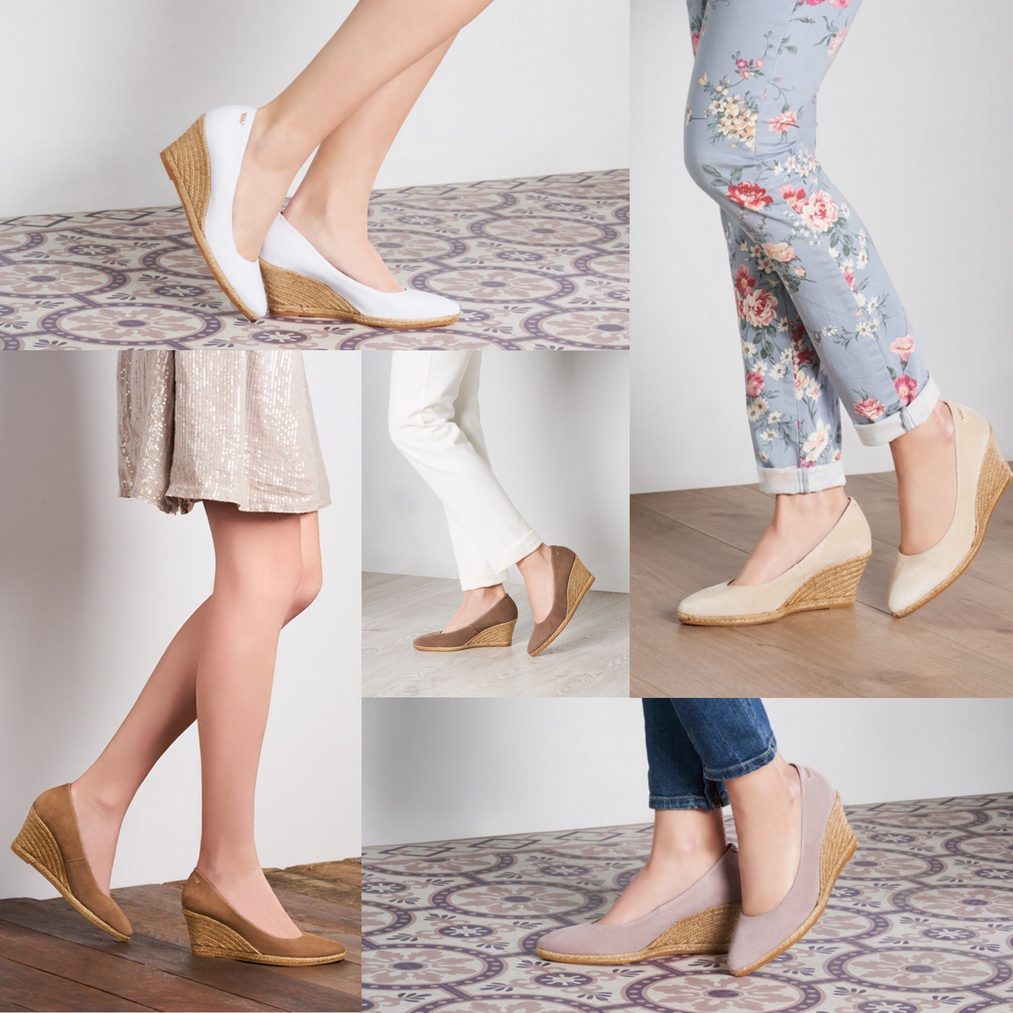 Roses Wedge Espadrille Pumps