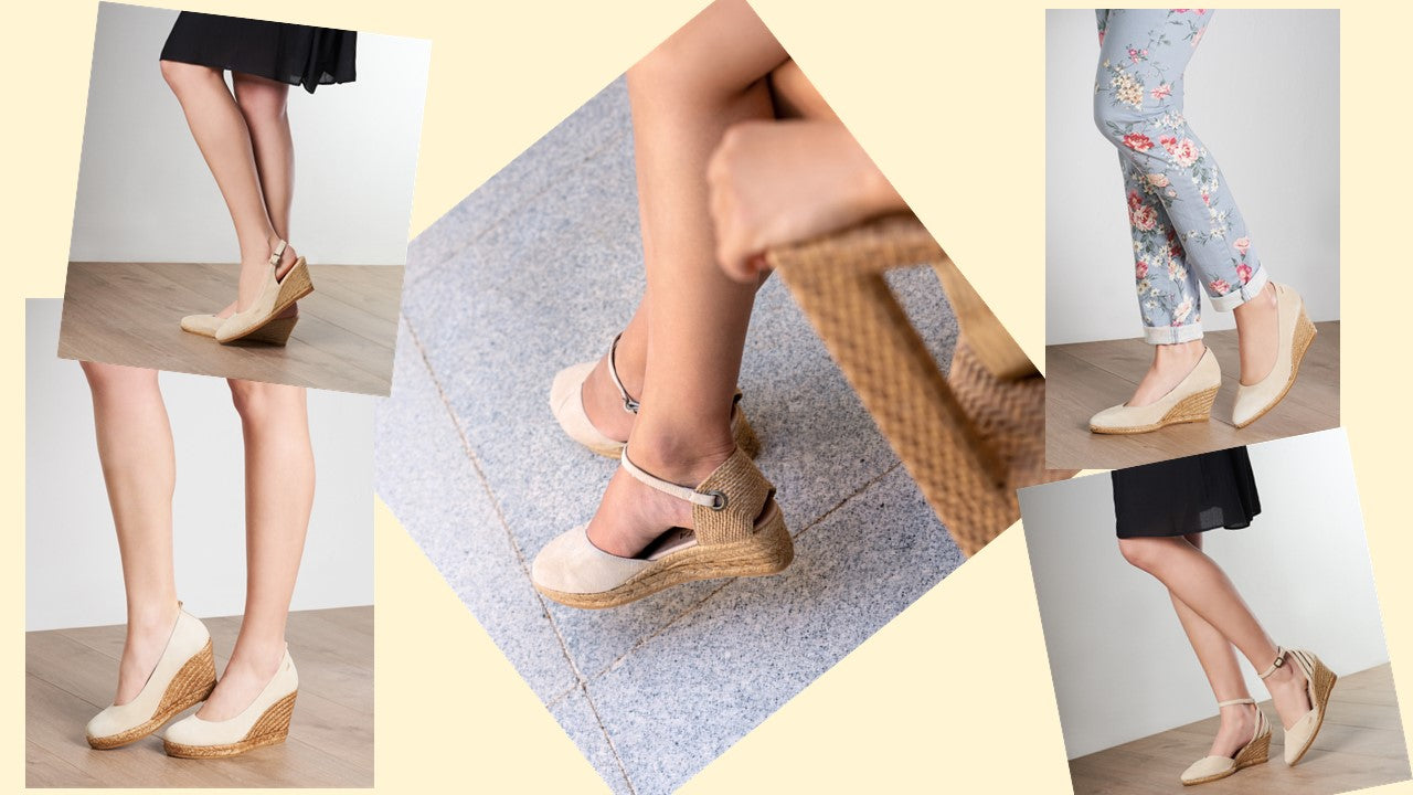 Viscata's Cream Styles. Close toed Wedge Espadrilles - pumps and ankle strap
