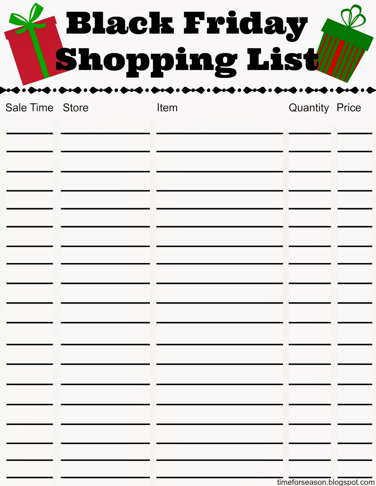 Black Friday Shopping List