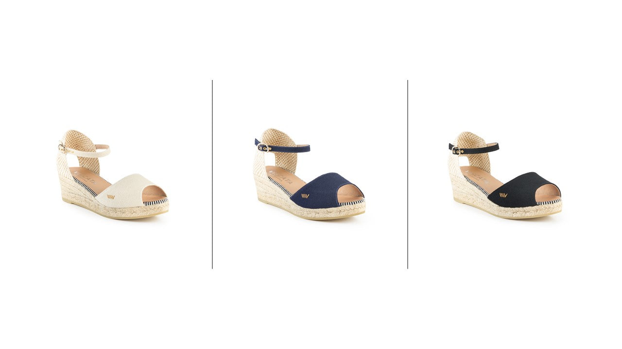 Viscata Cavall wedges - beige, black, navy
