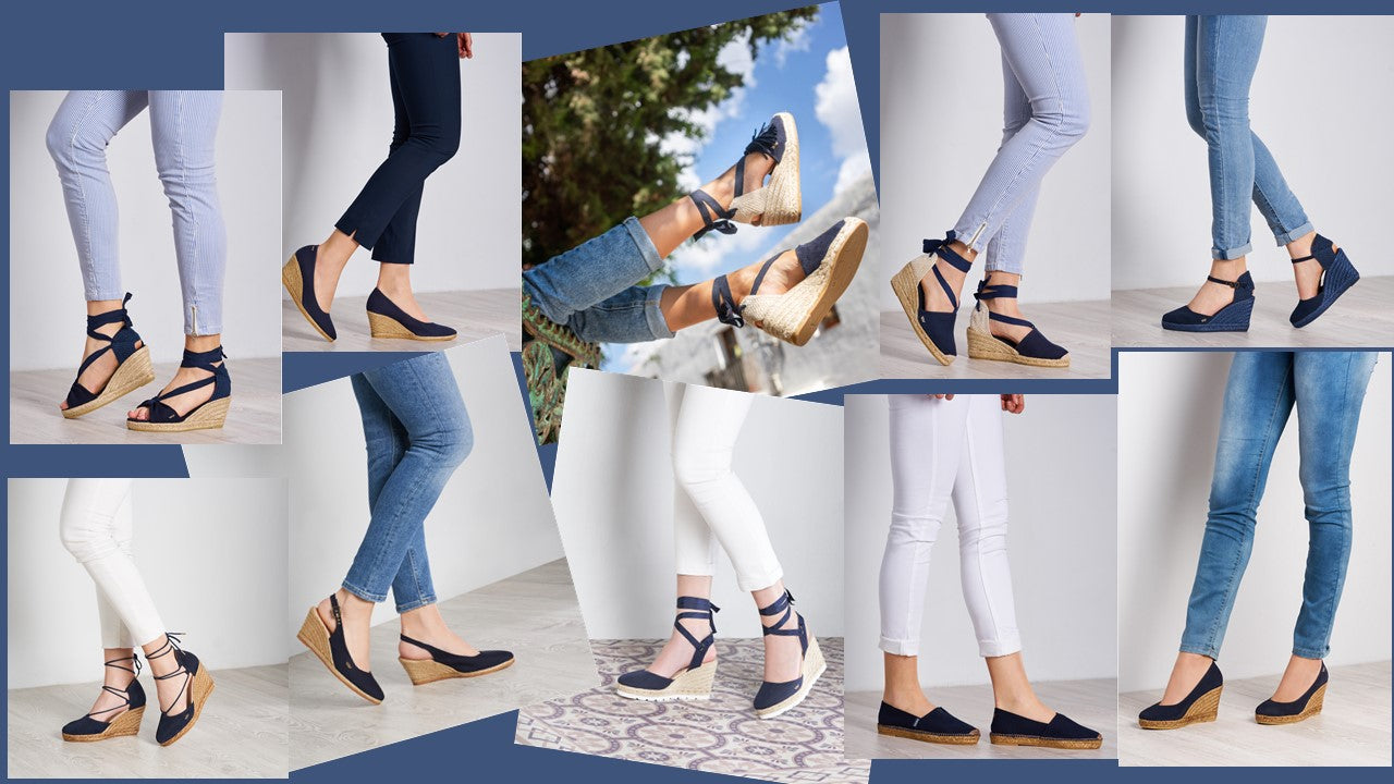 Viscata's Navy Styles - Flat and Wedge Espadrilles. Open/Closed Toed.