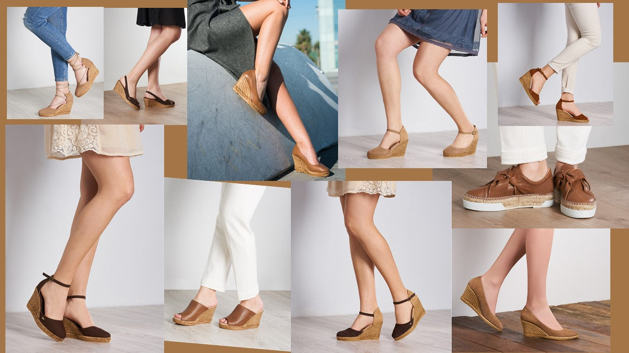 Viscata's Tan / Earthy Shades - Flat and Wedge Espadrilles. Open and Closed toe.