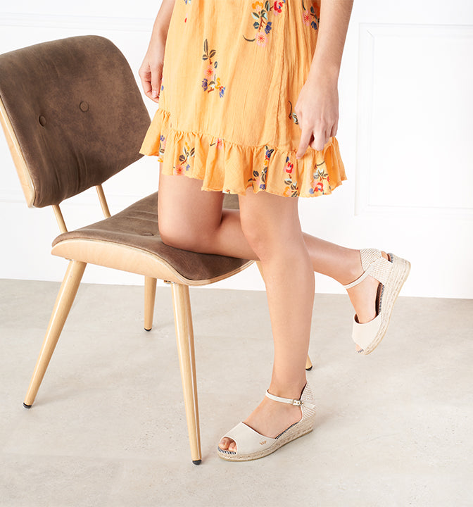 Viscata's Cavall Open-toed Low Wedges - Beige
