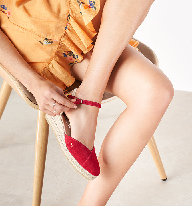 Espadrilles Women Low Wedge Suede Ankle strap Closed toe