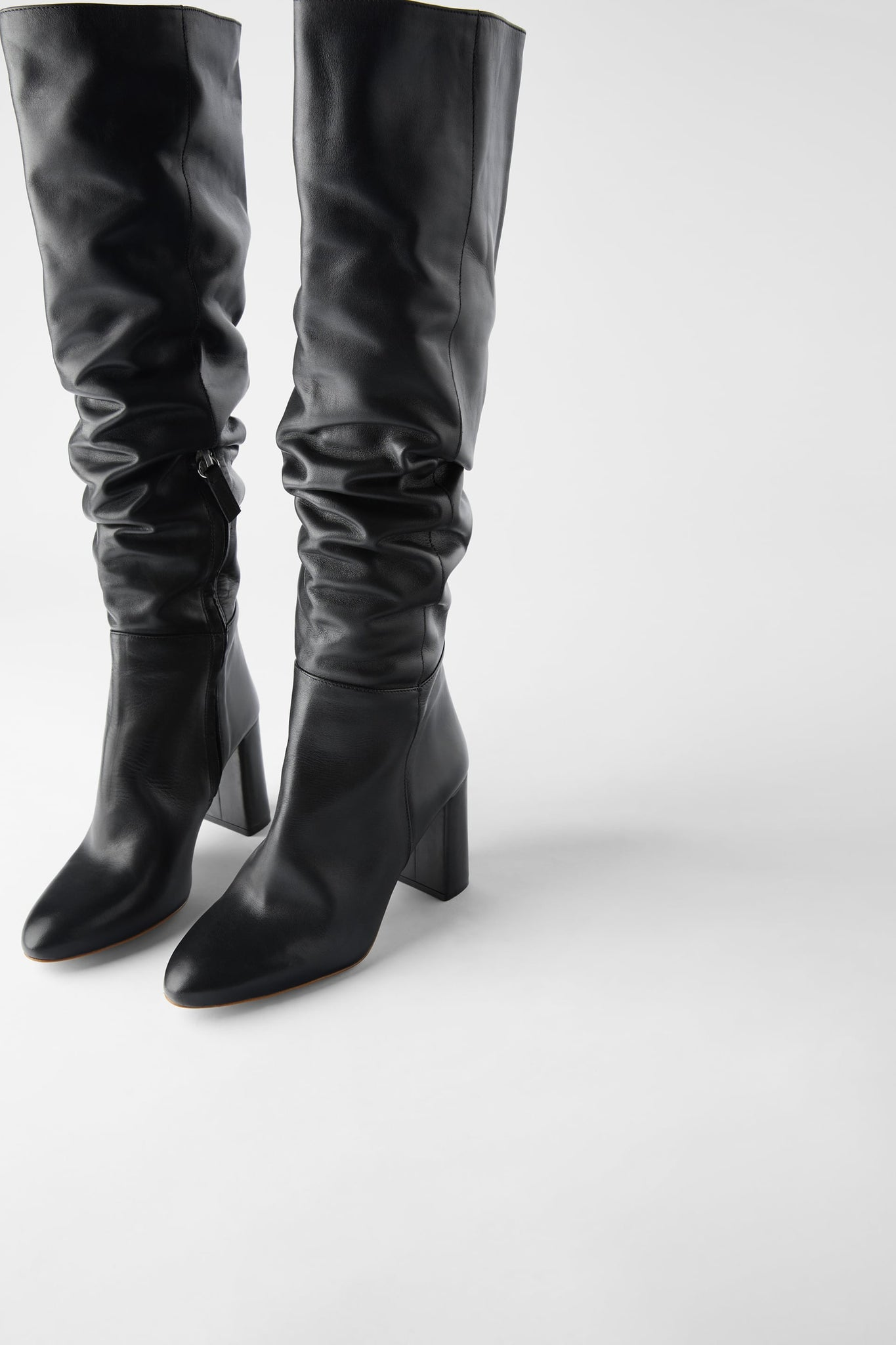 Leather Over The Knee Boots - Zara
