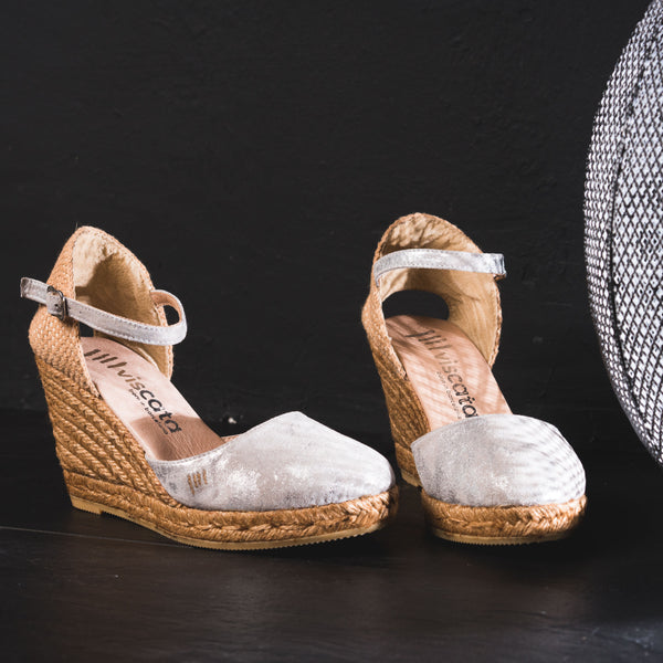 Satuna Leather Wedges - Silver